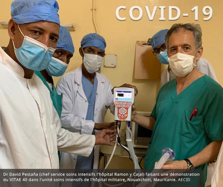 L'AECID gère l'envoi de respirateurs VITAE 40 et de personnel de santé en Mauritanie en renfort de la lutte contre COVID-19
