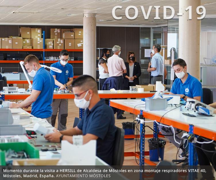 La Alcaldesa de Móstoles visita HERSILL, por su ayuda a salvar vidas con la fabricación de respiradores y productos médicos desde los inicios del COVID-19 en España